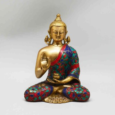 Brass Buddha Sitting Hand Up