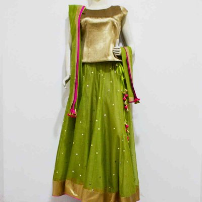 Chanderi Skirt with Top and Dupatta