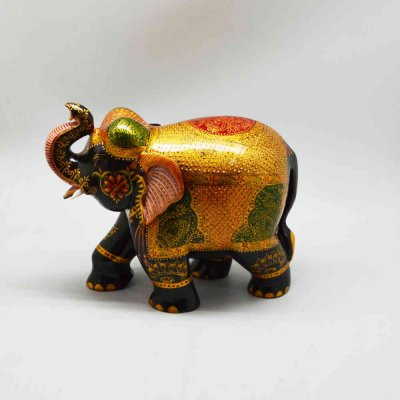 Wooden Elephant With Miniature Painting
