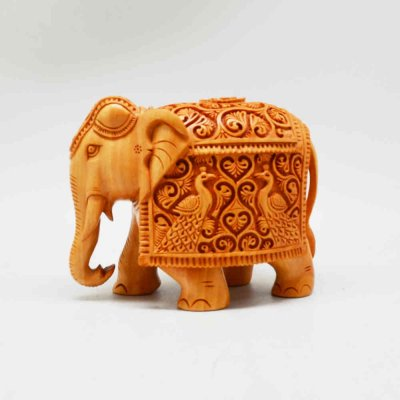 Whitewood Elephant With Peacock Miniature Carving