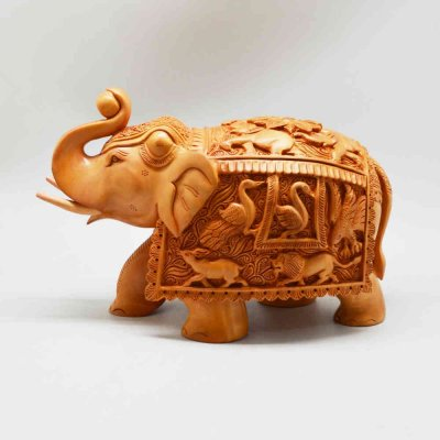 Whitewood Elephant With Miniature Carving