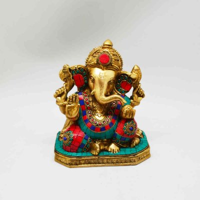 Brass Ganesh Sitting with Stone Work