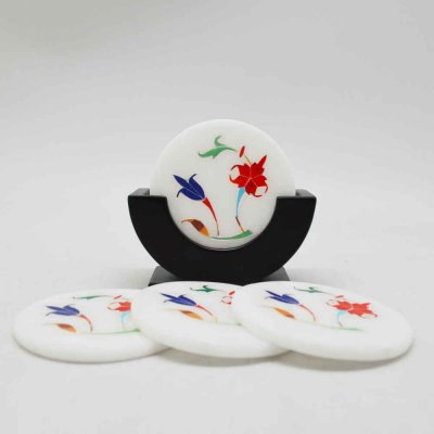 Marble Inlay Coaster with Stand Set of 4