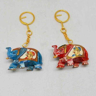 Wood Elephant with Painted King And Queen Keychain Set of 2