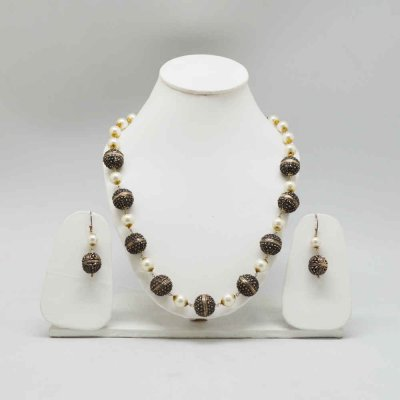 Sand Stone Necklace And Earring Set