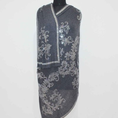 Wool Wrap / Stole With Crystal Paisley Work