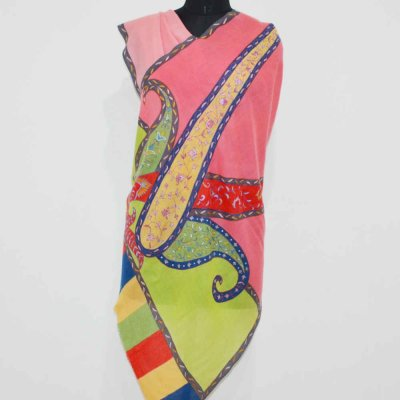 Pure Cashmere Wrap / Stole With Single Paisley Embroidery
