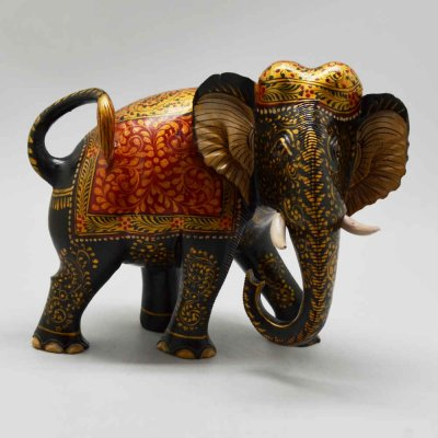 Whitewood Elephant With Carved Miniature Painting