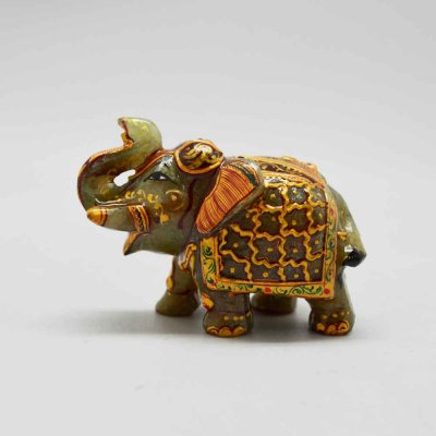 Jade Stone Elephant Up Trunk 2 Inch