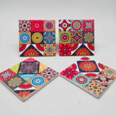 Ceramic Coaster Set Square Set of 4 Pcs
