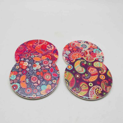 Ceramic Coaster Set Round Set of 4 Pcs