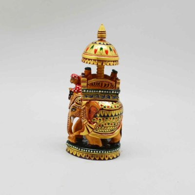 Wooden Handpainted Elephant With Ambari / Howdah