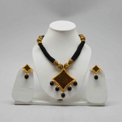 Brass and Metal Alloy Beaded Necklace Set/Pendent Set - No Nickel