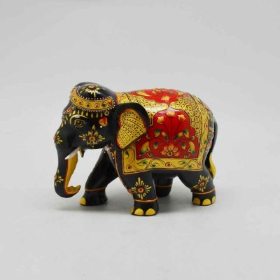 Wooden Elephant with Emborsed Work