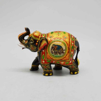 Wooden Elephant with Emborsed and Glass Stones Work