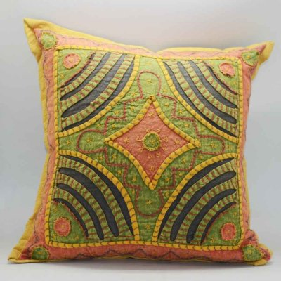 Cotton Rangoli patch Cushion Cover