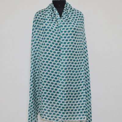 Silk Blend Wrap / Stole With Elephant Print