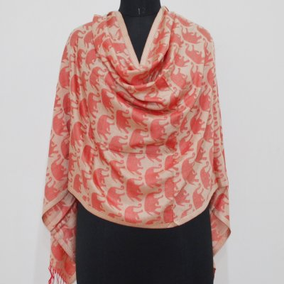 Modal Elephant Printed Jacquard Weave Reversible Wrap / Stole