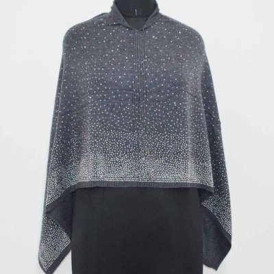 Cashmere Knitted Poncho allover Crystal and Pearl Work