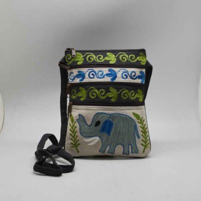 Suede Leather Bag with Elephant Embroidery