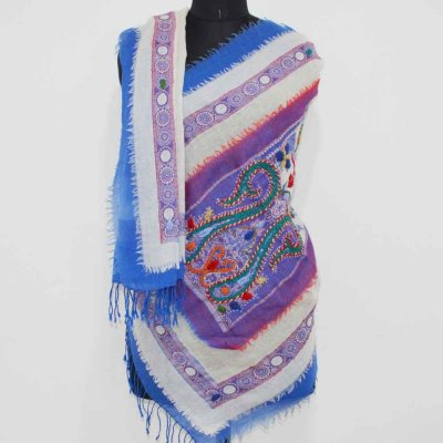 100% Wool Boiled Wrap / Stole With Embroidery Work