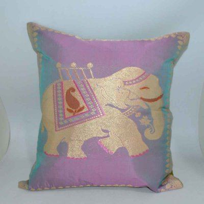Semi Silk Square Zari Cushion Cover Elephant Wrap / Stole