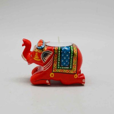 Wooden Elephant Candle light stand (Without Candle)