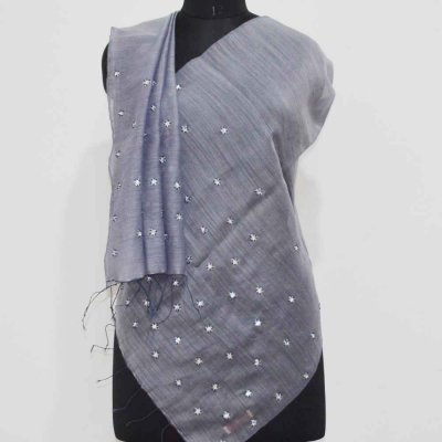80% Wool 20% Silk Hand Embroidery Wrap / Stole