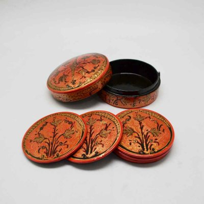 Papier Mache Box and Coaster Set of 6