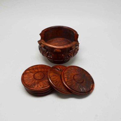 Wooden Lotus Coaster Set of 6